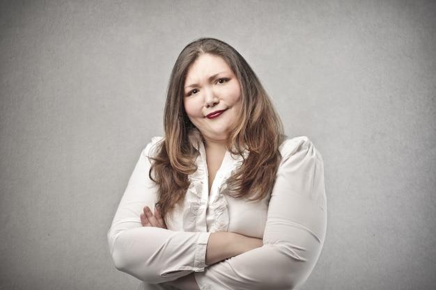 Doubtful fat woman
