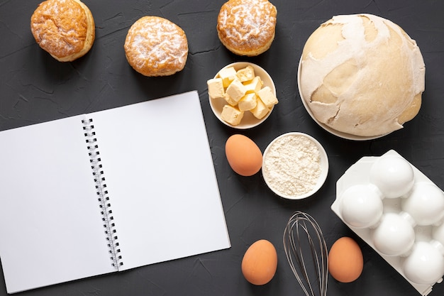Dough eggs and a notebook