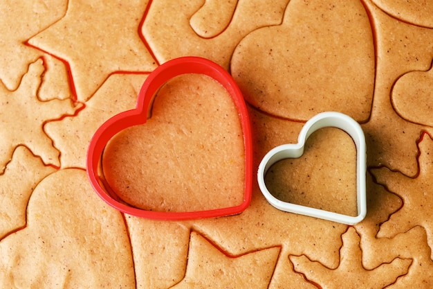 バレンタインデーにハート型のクッキーを作るための生地