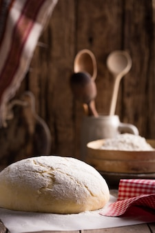 Dough preparation recipe bread, pizza or pie. food.