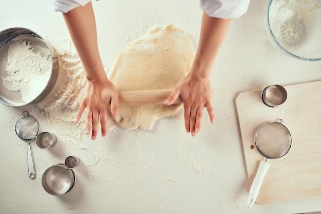 生地ワークデスク調理キッチン食材ピザパスタ