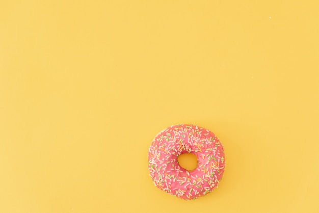 Doughnuts  on yellow  background.