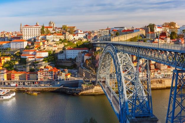 Douro river and dom luis bridge, porto, portugal.