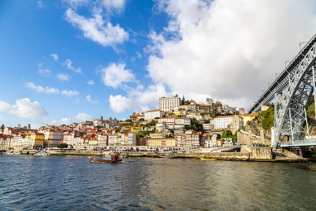 Douro river, overlooking porto and bridge, portugal