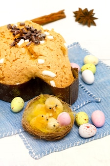 Dove with easter chocolates-colomba pasquale