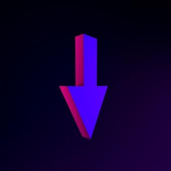 Неоновая стрелка вниз. 3d рендеринг элемента интерфейса ui ux. темный светящийся символ.
