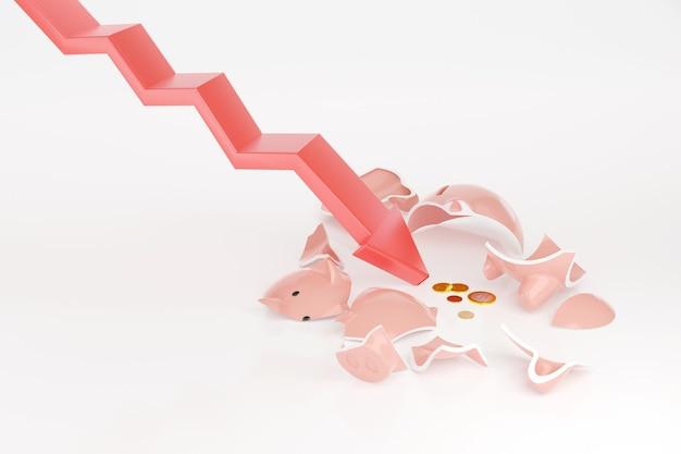 下のグラフは、破産の概念としていくつかのコインが入った貯金箱を壊します