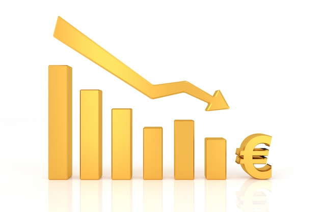 Down graph of euro currency. 3d rendering.
