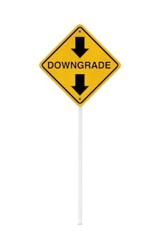 Downgrade warning traffic sign on a white background. 3d rendering