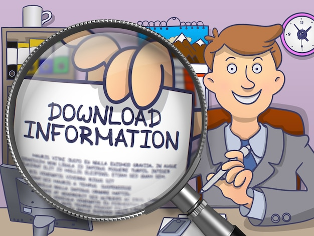 Download information on paper in officeman's hand through magnifying glass to illustrate a business concept. colored doodle style illustration.
