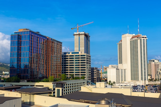 Downtown buildings view honolulu city