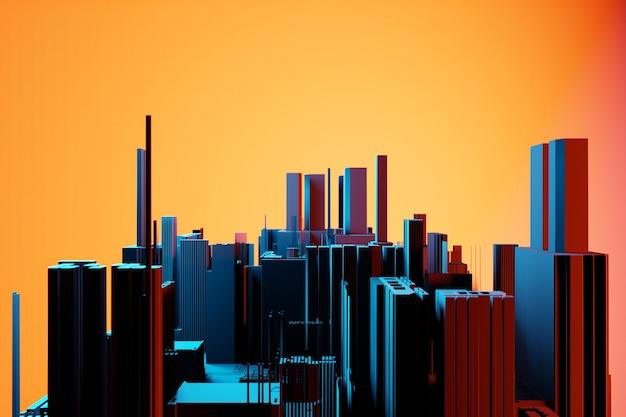 시내 비즈니스 지구 고층 빌딩. 사각형 모양 구성 기하학적. 현대 사무실 건물 일러스트와 함께 추상 일반 도시