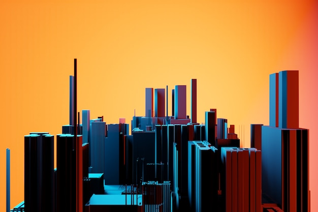 Downtown business district  skyscrapers. square shapes composition geometric. abstract generic city with modern office buildings illustration