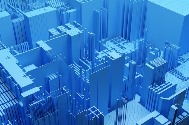 Городские небоскребы делового района. состав квадратной формы геометрический. абстрактный общий желтый город с иллюстрацией современных офисных зданий