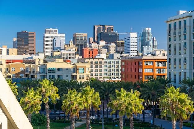 미국 캘리포니아의 샌디에이고 시내 스카이라인