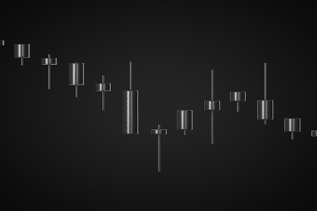 Downtrend of the market 3d render black background Premium Photo