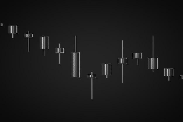 Нисходящий тренд рынка 3d визуализации черный фон