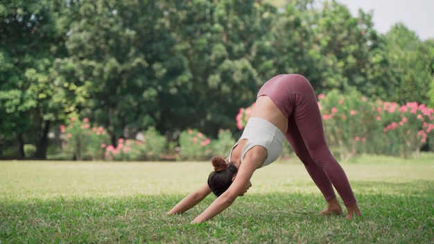 Downwardfacing dog asian young woman sitting on the grass practicing yoga in the cow pose position