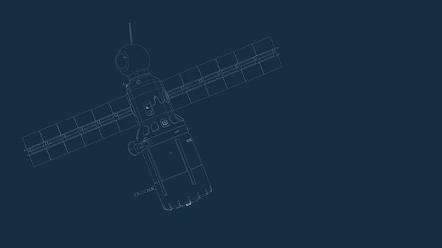 파란색 배경에 우주선과 그 부품의 제도 실루엣