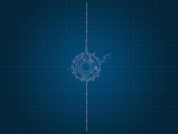 파란색 그래프 용지에 우주선의 실루엣과 그 부품의 제도