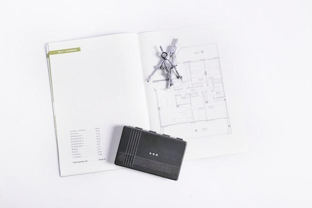 Drafting tools on blueprints