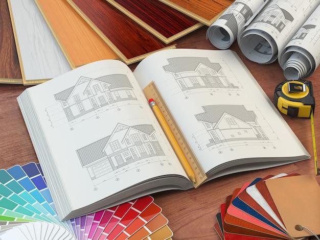 하우스 우드 샘플 색상 팔레트 및 가죽 견본의 초안