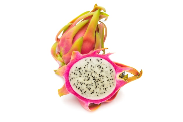 Dragon fruit isolated against white background. colorful fruit