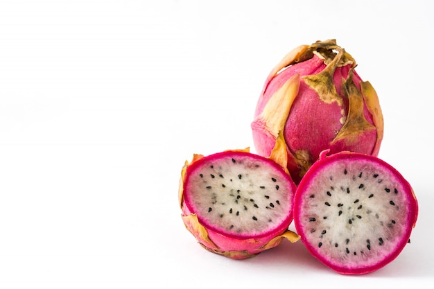 Dragon fruit isolated on white  copyspace