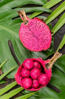 Dragon fruit on the leaves of palm and monster