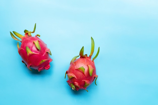 Dragon fruit or pitaya. delicious tropical exotic fruit. top view
