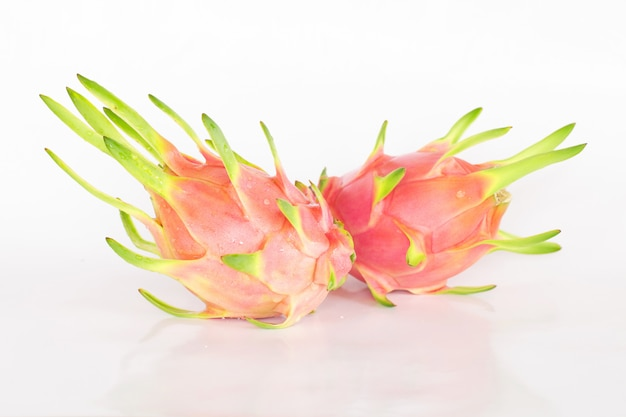 Dragon fruit or pitaya fruit on white
