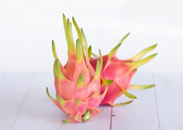 Dragon fruit or pitaya fruit on white