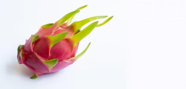 Dragon fruit, pitaya isolated on white.