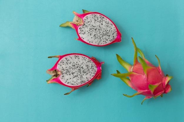 Dragon fruit ,tropical fruit on color blackground.