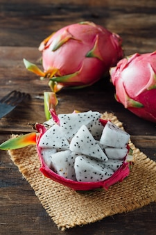 Dragon fruit on wooden table