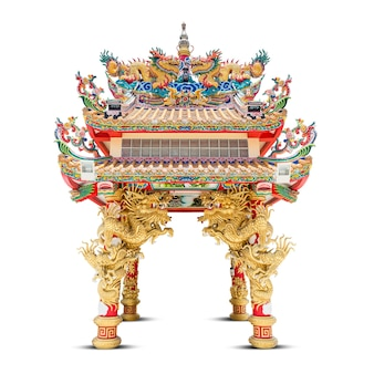 Dragon pavilion in chinese style isolated on white