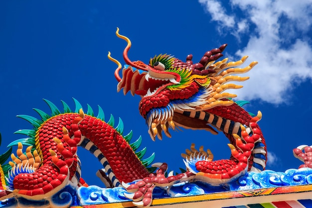Храм скульптуры искусства буддийского искусства скульптуры дракона впечатляющий в таиланде.