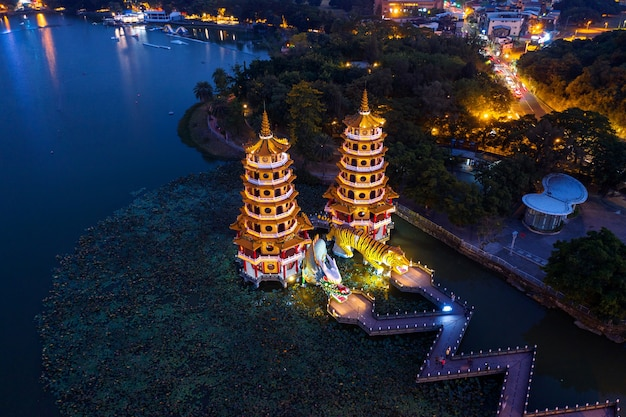 Dragon and tiger pagodas at night in kaohsiung, taiwan.