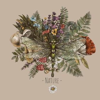 Dragonfly with fern, mushrooms, amanita botanical card. woodland treasures, witchcraft illustrations