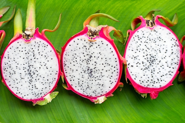 Dragonfruit or pitahaya on banana leaf
