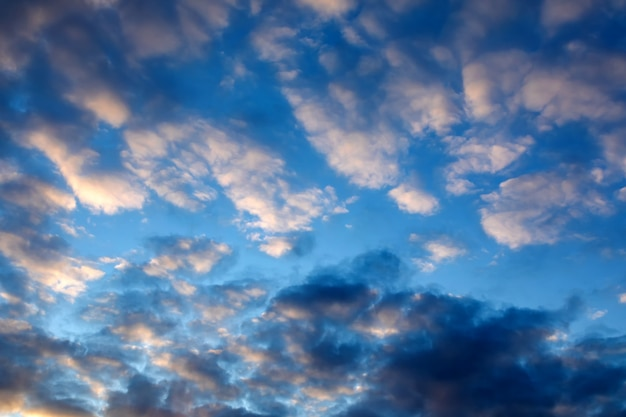 Dramatic blue sky with dark clouds at sunset to illustrate bad weather, anxiety, worry and despondency.