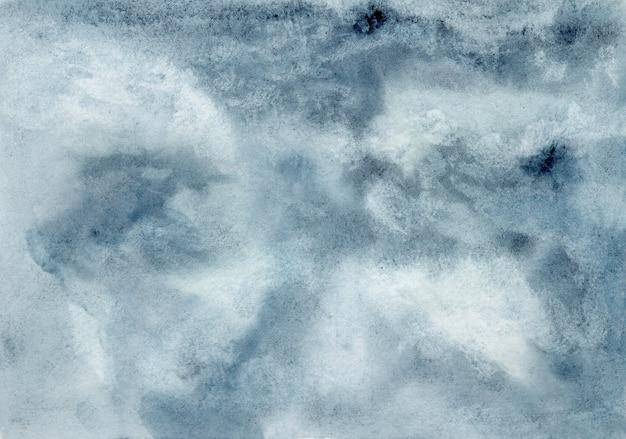 극적인 진한 파란색과 회색 cloudscape 젖은 수채화 배경, 폭풍우 치는 하늘 수채화 텍스처 개념