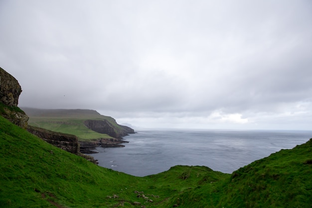 Dramatic landscape on faroe islands, the nature of the faroe islands in the north atlantic