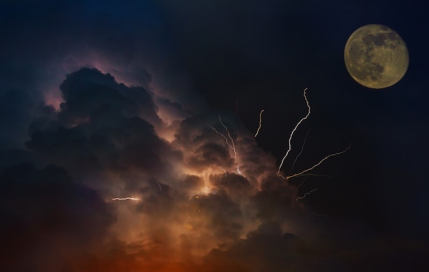 Dramatic moon orbit planet earth. lightnings in sunset sky with dark clouds