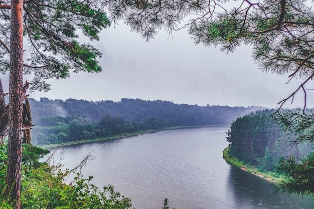 霧の川の劇的な神秘的な風景