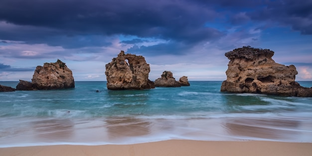 Dramatic panorama the beach of albufeira. before the storm. portugal.