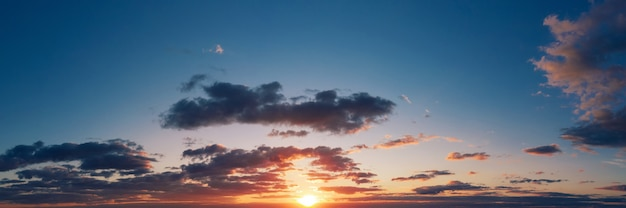 Dramatic panorama of the sunset sky in the evening.