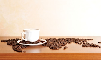 Dramatic photo of world map made of coffee beans