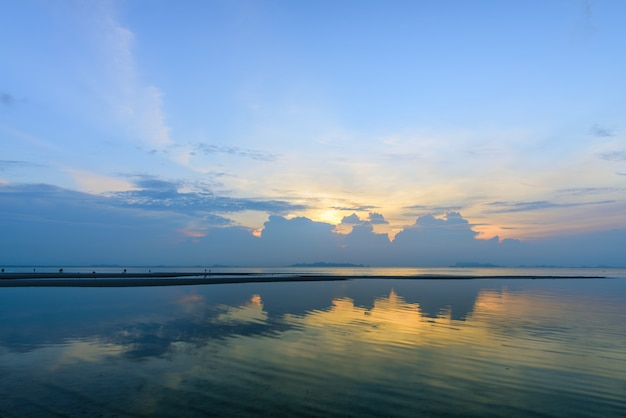 Dramatic ponoramic tropical beach sky sunset