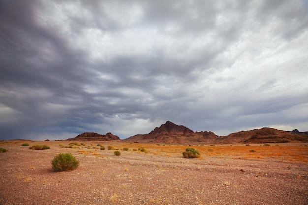 Dramatic scene in gobi stone desert, mongolia
